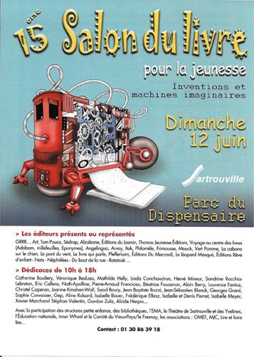 Flyer du Salon du livre de Sartrouville 2016